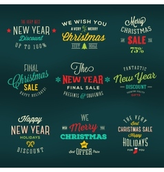 Christmas and New Year Vintage Labels Holiday vector