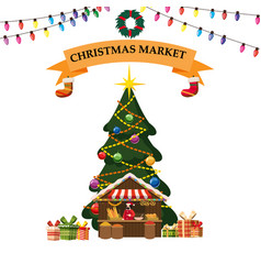Christmas bakery products market stall with food vector