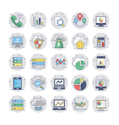 Cloud computing flat colored icons 2 vector