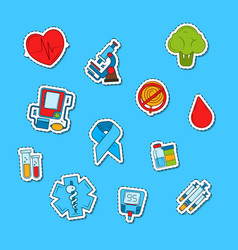 colored diabetes icons stickers set vector image
