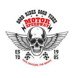 Custom motorcycles poster template with winged vector