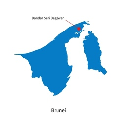 Detailed map brunei and capital city bandar vector