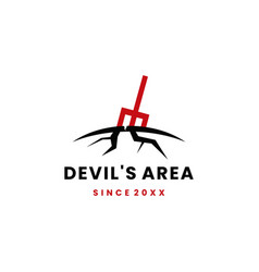 devils area ground pitch fork logo icon vector image