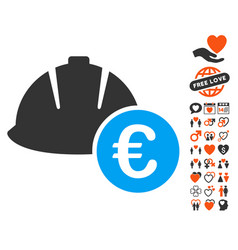 Engineering helmet and euro icon with lovely bonus vector
