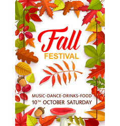 fall festival flyer with bright tree leaves vector image