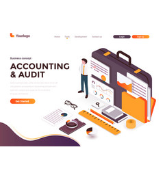flat color modern isometric concept - accounting vector image