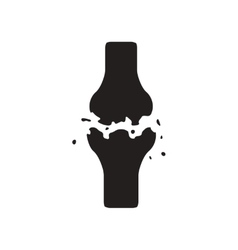 Flat icon in black and white style bone fracture vector