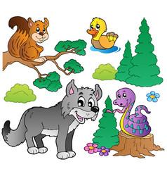 forest cartoon animals set 2 vector image