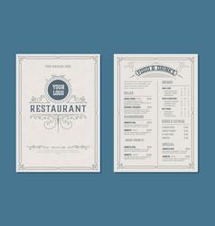 fresh retro template for restaurant menu design vector image