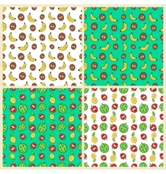 Fruits Seamless Background Set with Funny Bananas vector image