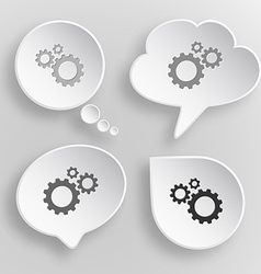 Gears White flat buttons on gray background vector image