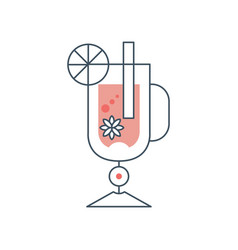 glass of mulled wine with cinnamon anise and vector image