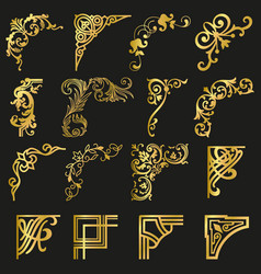 Gold vintage design elements corners and borders vector