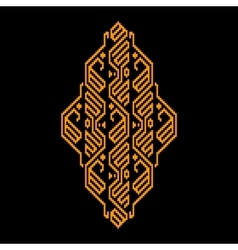 Golden and black ethnic geometric ornament vector