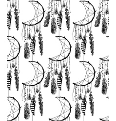 Hand drawn seamless pattern with dream catcher vector