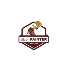 hand paint brush emblem vector image