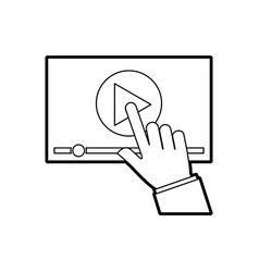 hand touch screen video player button technology vector image