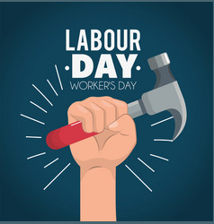 Hand with hand to labour day celebration vector