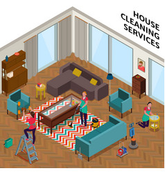 home cleaning services isometric vector image