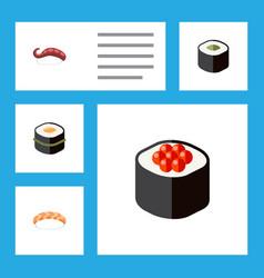 Icon flat maki set of sushi salmon rolls seafood vector
