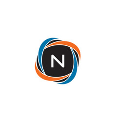 initial letter n circle negative space logo vector image