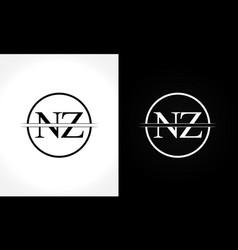 initial monogram letter nz logo design template vector image