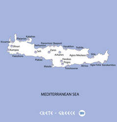 island of crete in greece white map and blue vector image