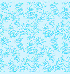 Line art seamless pattern with plants doodle vector