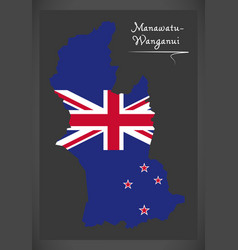 Manawatu - wanganui new zealand map with national vector