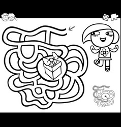 Maze with girl and gift coloring page vector