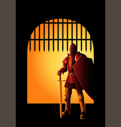 Medieval knight at front gate vector