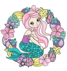 Mermaid fruits sea travel clipart color vector