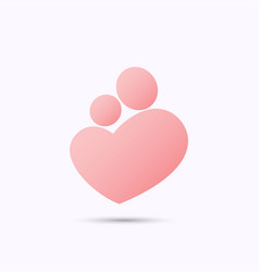 Mother and baby heart symbol vector