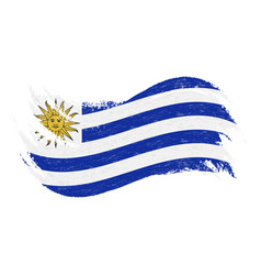 national flag of uruguay designed using brush vector image