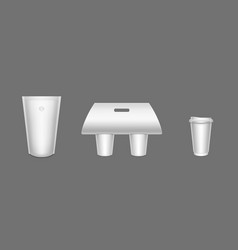 package for coffee paper cups in carton holder vector image