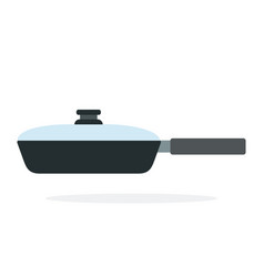 pan with lid flat isolated vector image