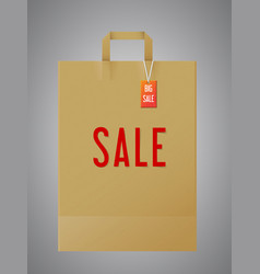 paper shopping bag with handles tag and sale word vector image