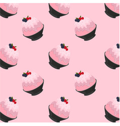 Pink milk kakigori or bingsu cartoon on pink bg vector