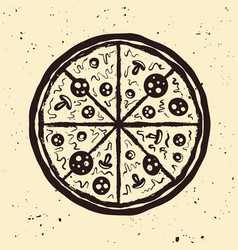 pizza hand drawn vintage style vector image