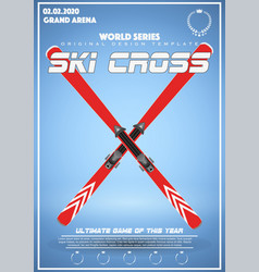 Poster template of winter games of ski cross vector