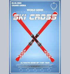 Poster template of winter games of ski cross vector