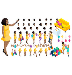 quality isometry pregnant african american girl vector image