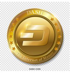 Realistic 3d golden dash coin vector