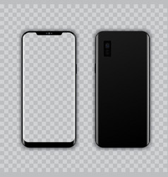 realistic modern smart phone front and back view vector image