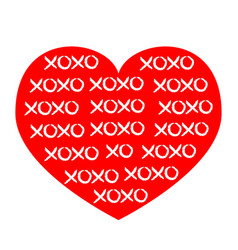 Red heart icon xoxo phrase sketch saying hugs and vector