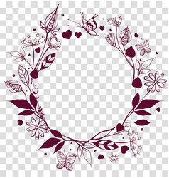 round frame floral ornament on transparent vector image