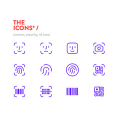 Scanners icon set pixel perfect glyphs editable vector