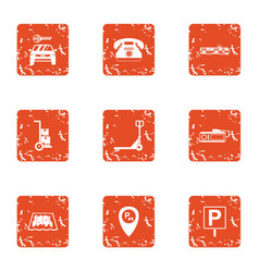 Secure parking icons set grunge style vector