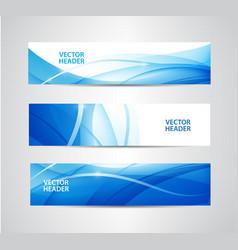 Set abstract blue wavy headers water vector