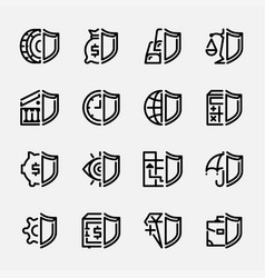 set icons protection banks and money vector image